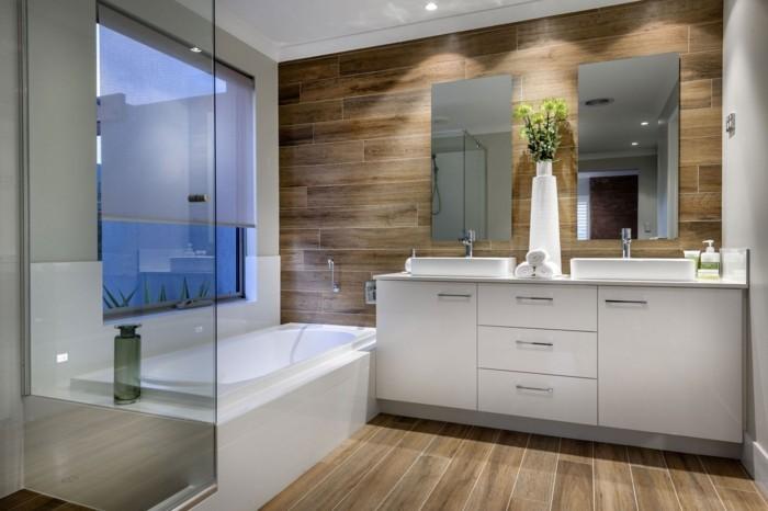 wandgestaltung ideen badezimmer holz weiße möbel wandspiegel