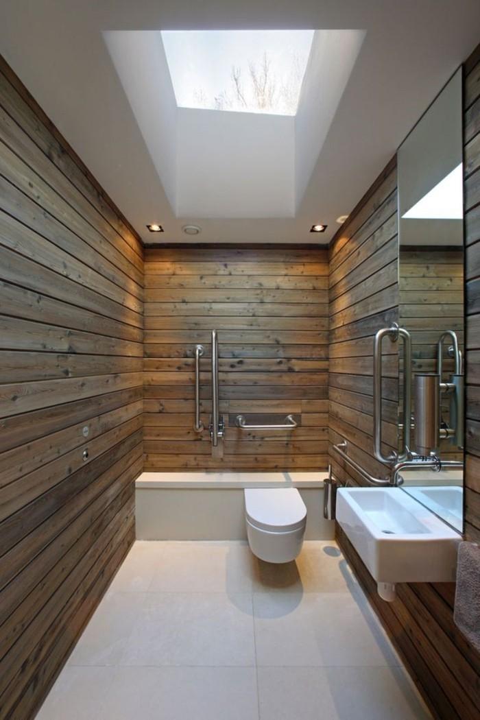 Wandgestaltung Ideen Badezimmer Holz Weißer Bodenbelag