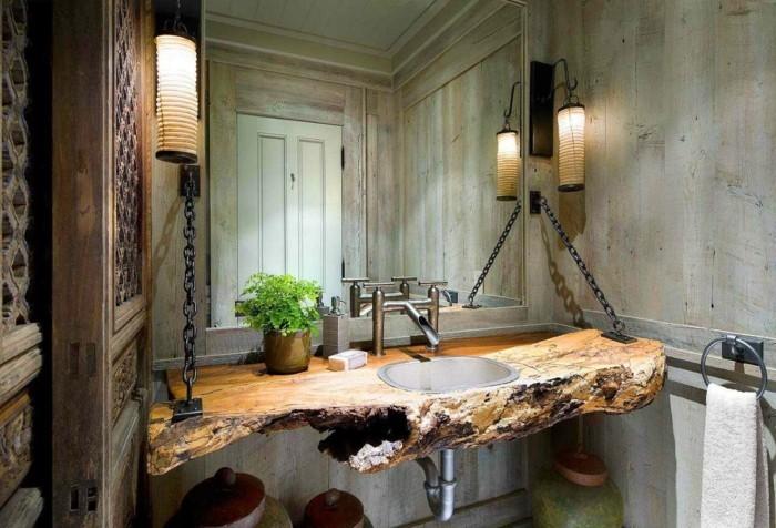 wandgestaltung ideen holz badezimmer ausgefallener waschbeckentisch