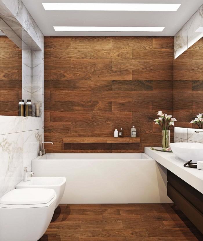 wandgestaltung ideen holzoptik badezimmer blumendeko