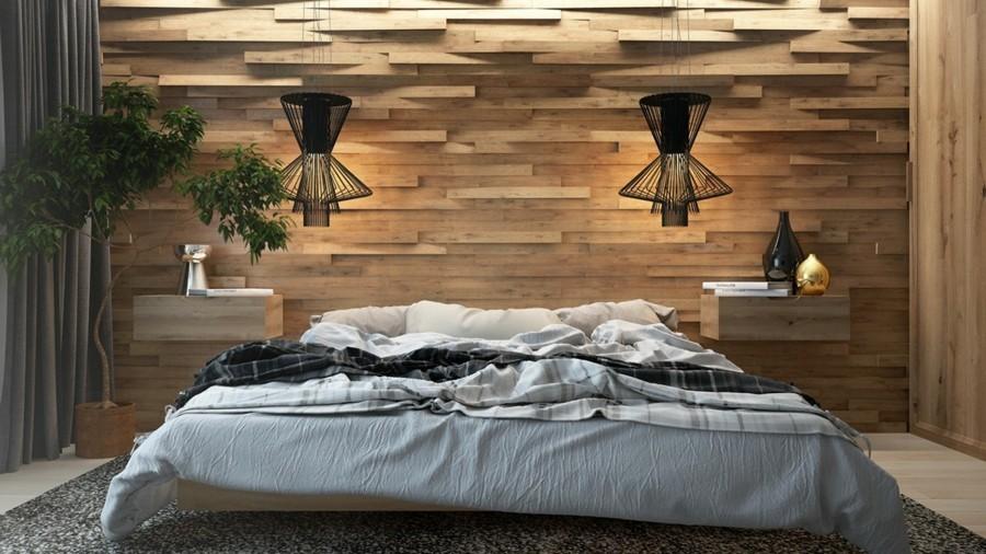 wandverkleidung holz akzentwand schlafzimmer schöner teppich schwarze hängelampen