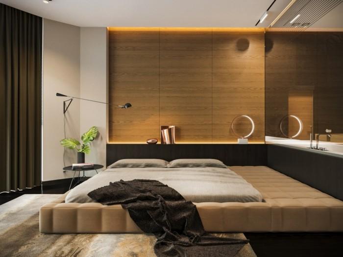wandverkleidung holz holzpaneele schlafzimmer moderne beleuchtung