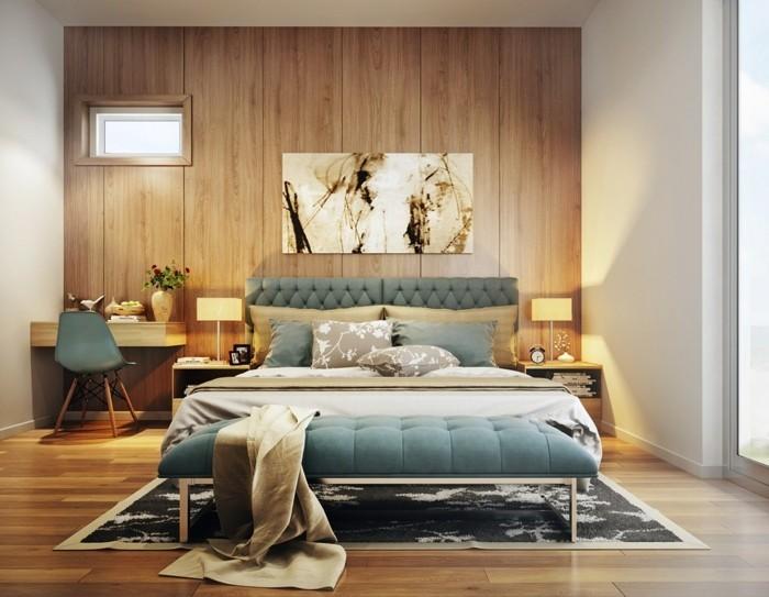wandverkleidung holz modernes wanddesign schlafzimmerbank bodenbelag holzoptik