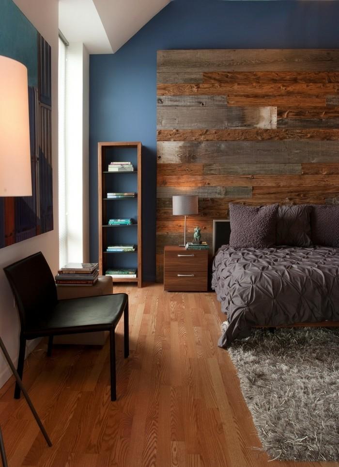 wandverkleidung holz rustikale wandgestaltung schlafzimmer