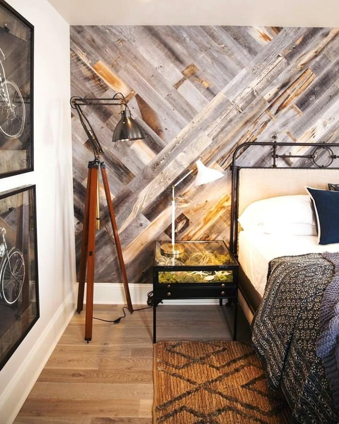 wandverkleidung holz schlafzimmer coole akzentwand stoffmuster