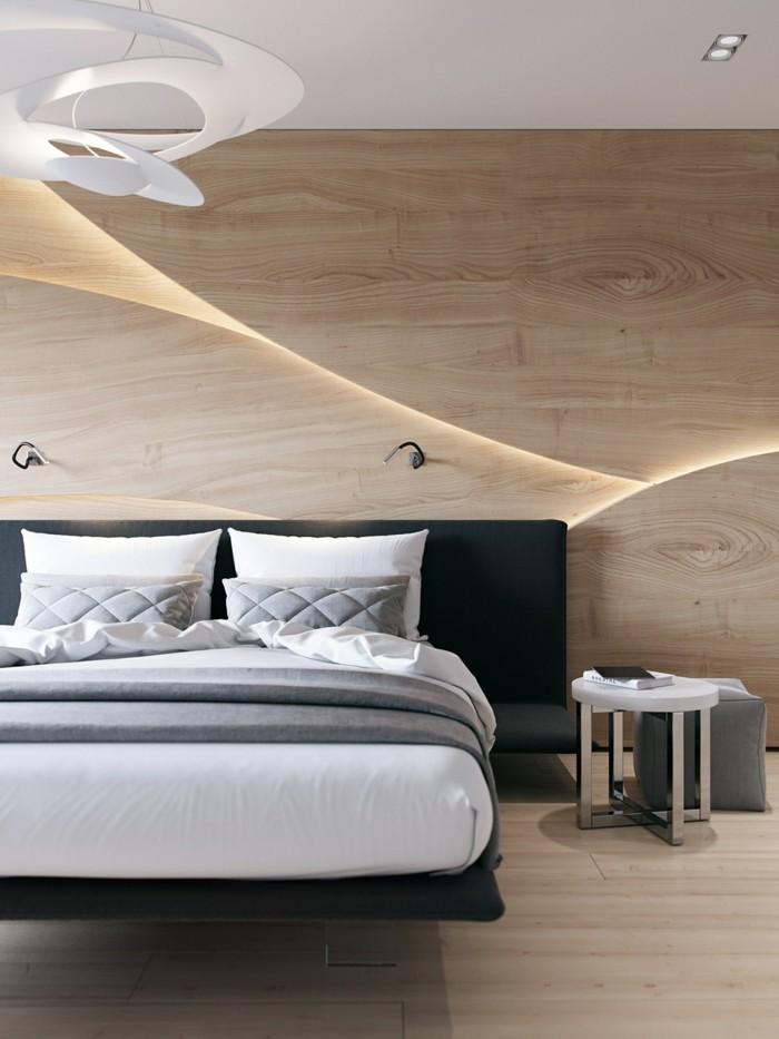 wandverkleidung holz schlafzimmer modern frisch schwarzes bettkopfteil