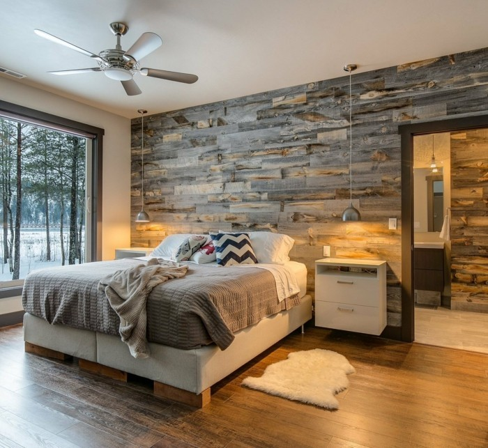 wandverkleidung holz wanddesign schlafzimmer gemütlich natürlich