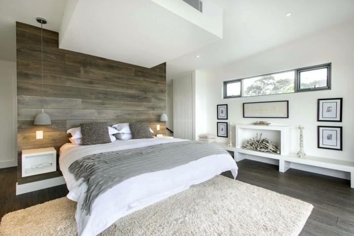 wandverkleidung holz wandpaneele schlafzimmer weißes ambiente