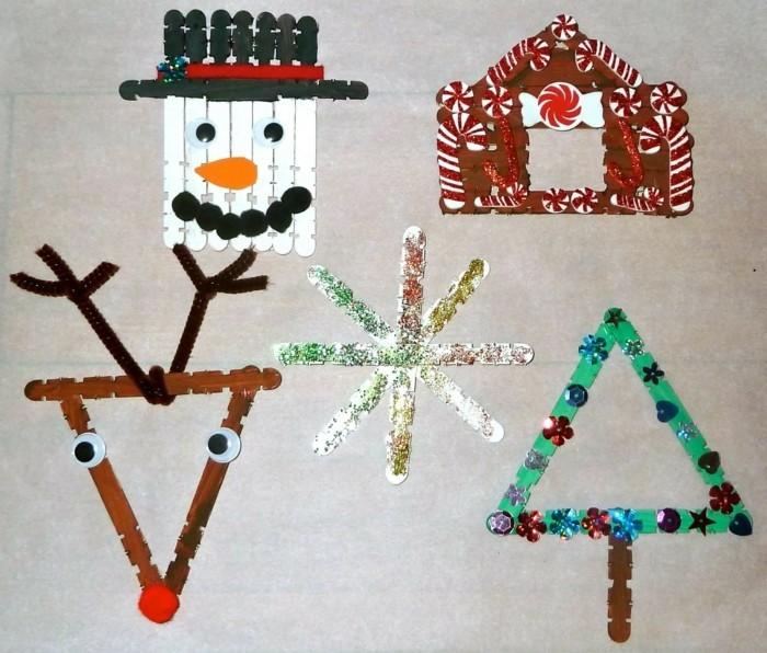 weihnachtsbasteln mit kindern grundformen dreieck