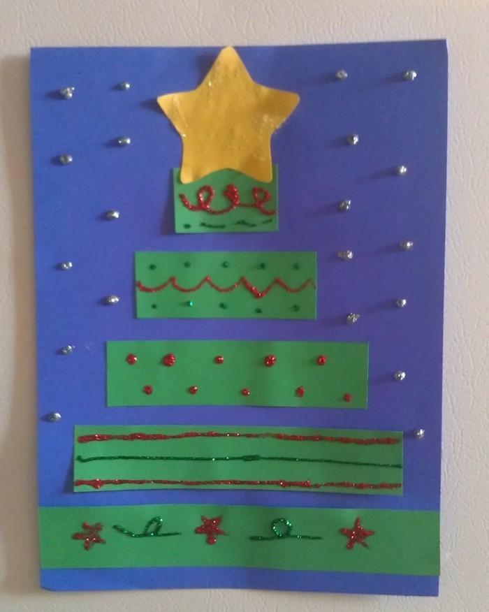 weihnachtsbasteln mit kindern grundformen originelle weihnachstkarten selber basteln
