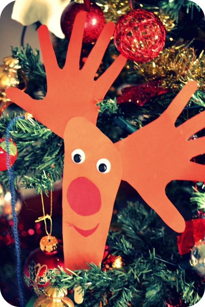 weihnachtsbasteln mit kindern grundformen renntier mit hand