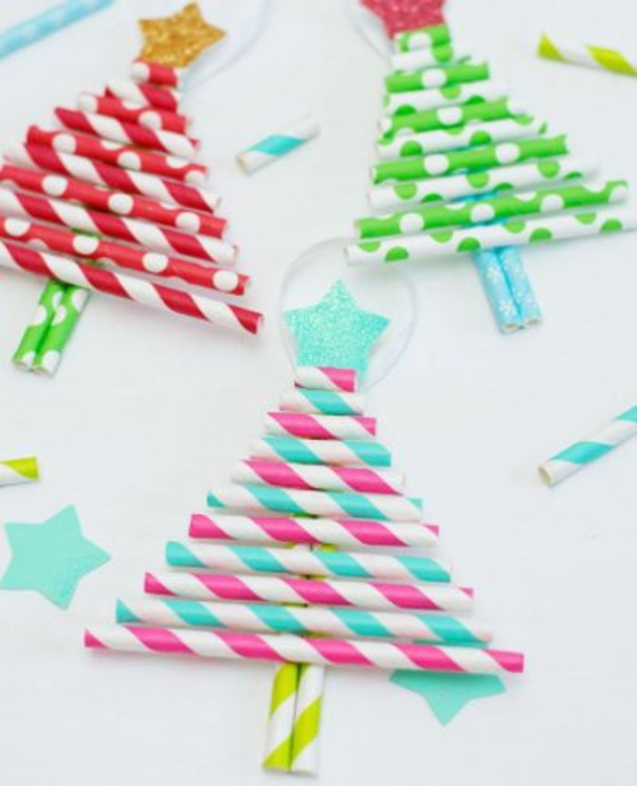 weihnachtsbasteln mit kindern grundformen strohhalm