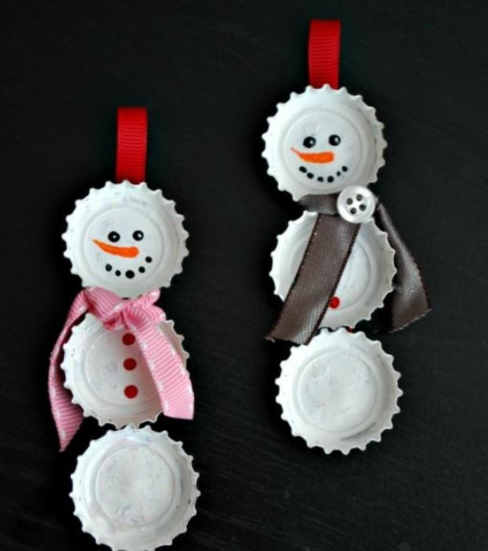 weihnachtsbasteln mit kindern steine bemalen flaschendeckel