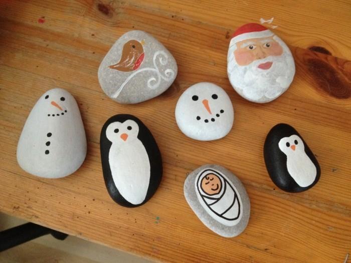 weihnachtsbasteln mit kindern steine bemalen