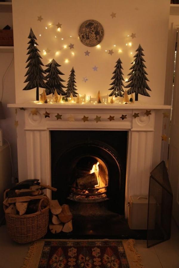 weihnachtsbeleuchtung windlichter basteln weihnachtkugel kamin