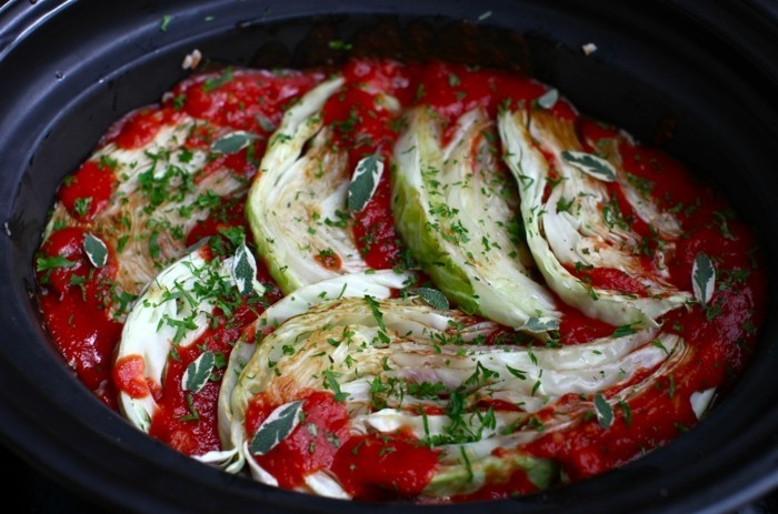 weisskraut tomatensosse krauter naturreis slow cooking rezepte
