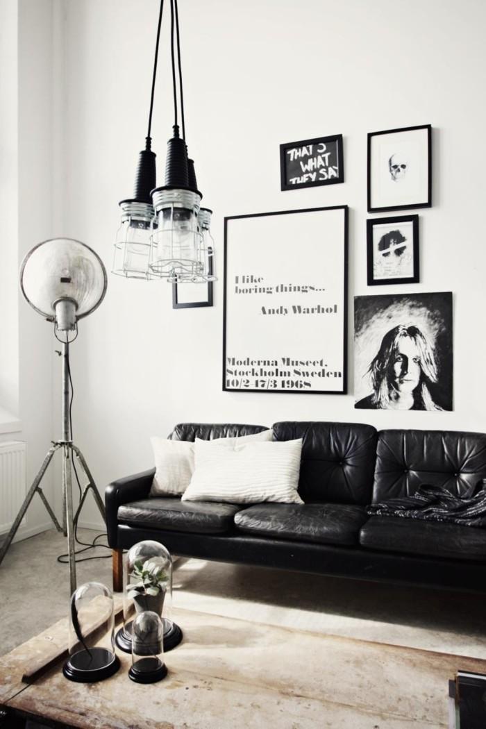 wohnzimmer lampe ausgefallene hängelampen und schwarzes ledersofa