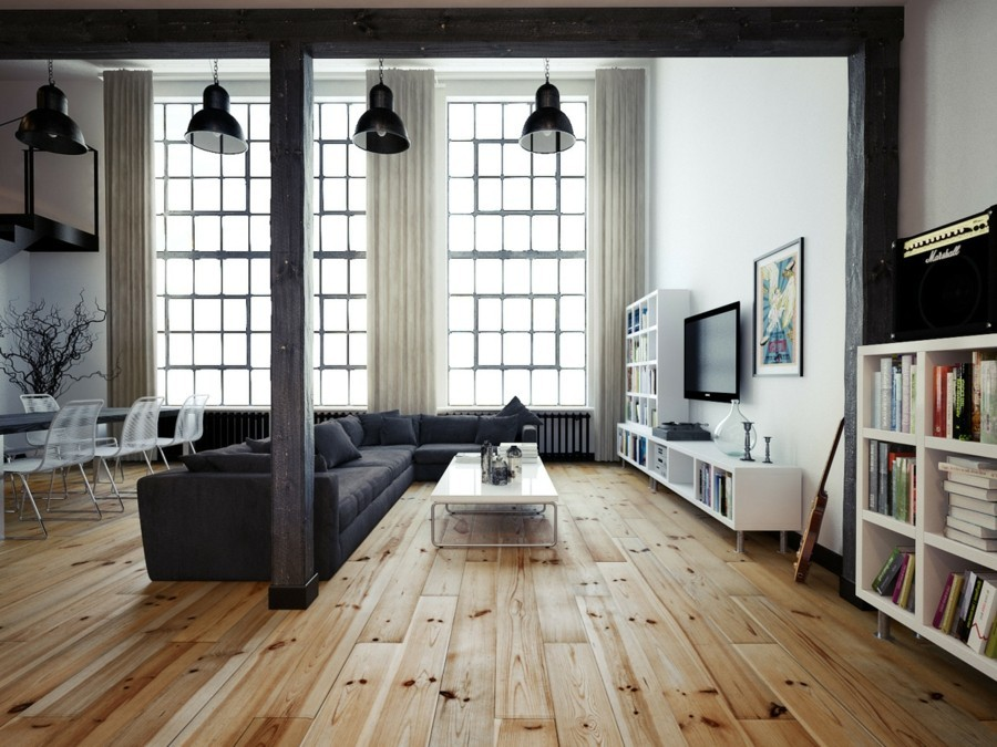 wohnzimmer lampe hängelampen schwarz und bodenbelag holzoptik