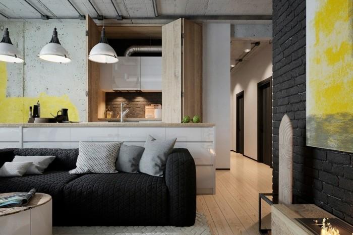 wohnzimmer lampe industriell wohnbereich in grautönen