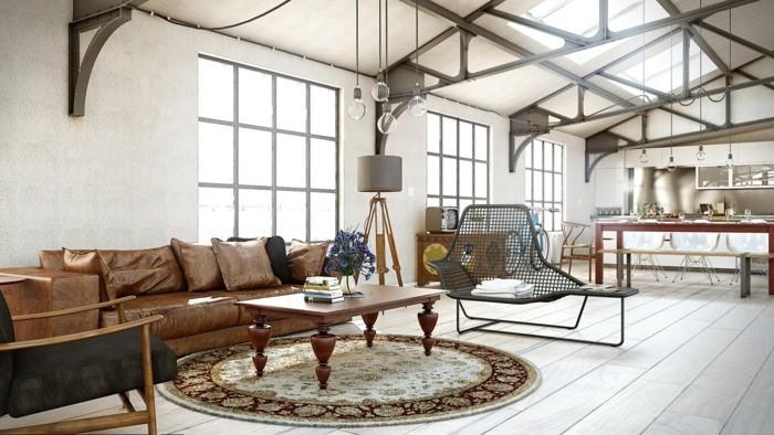 wohnzimmer lampe industrielle hängelampen braunes ledersofa runder teppich