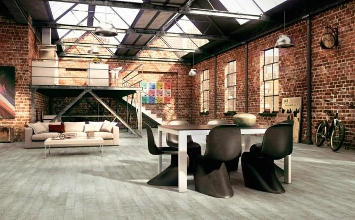 wohnzimmer lampe industrielle hängelampen im offenen wohnbereich