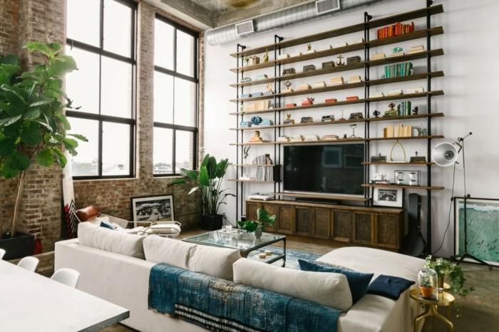 wohnzimmer lampe industrielle stehlampe und pflanzen