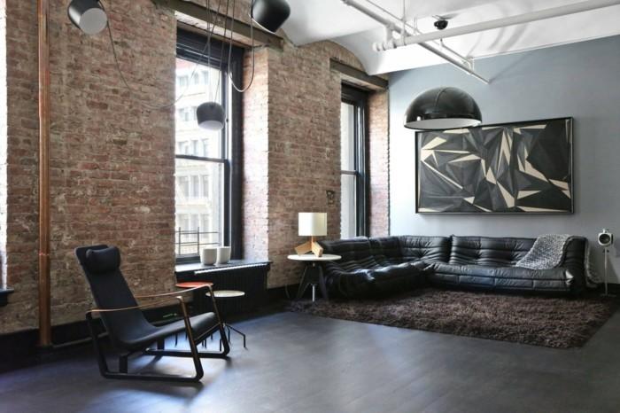 wohnzimmer lampe industrieller einrichtungsstil brauner teppich