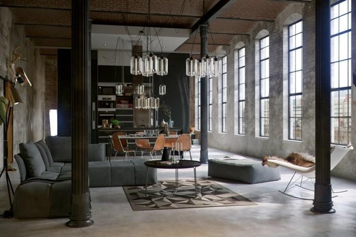 wohnzimmer lampe industrieller stil dunkle farbtöne