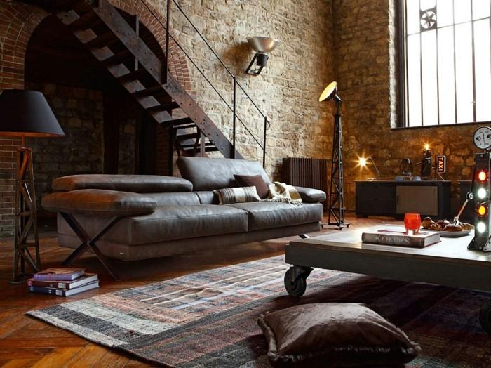 wohnzimmer lampe industrielles wohnzimmer mit wandleuchten und stehlampe