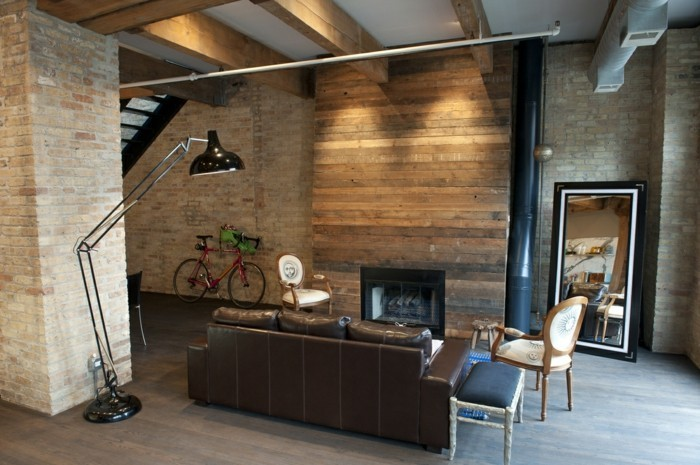 wohnzimmer mit rustikaler wand modernes innendesign mit rustikalen akzenten