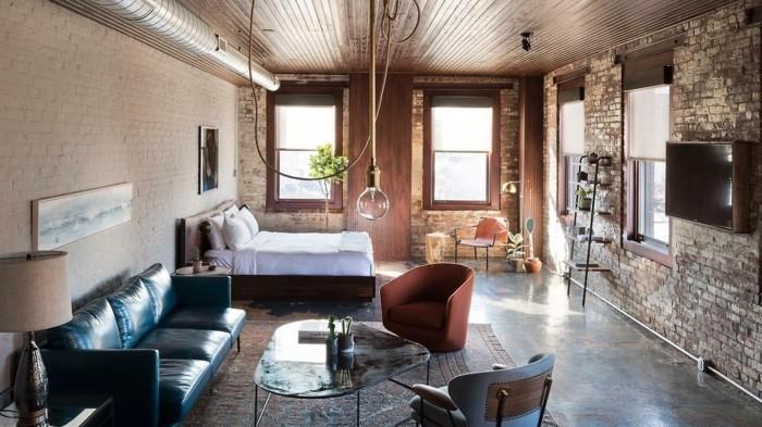 wohnzimmerlampe im industriellen stil offener wohnplan