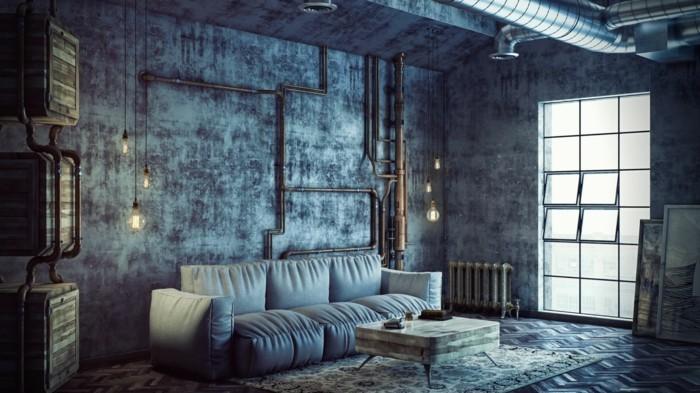 wohnzimmerlampe industrielle hängeleuchten und wandgestaltung betonoptik