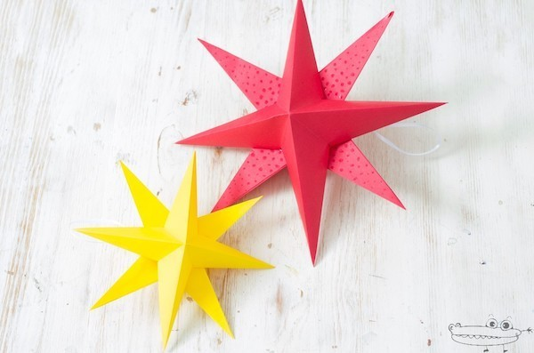 zwei 3 d weihnachtssterne basteln origami weihnachten