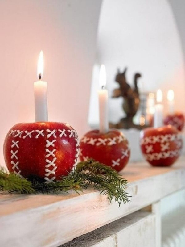 äpfel weihnahtsdeko selber basteln weisse kerzen