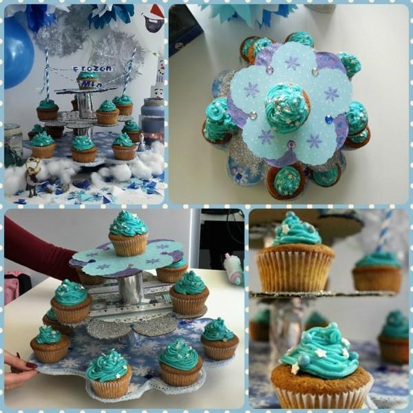 Cupcake Etagere und Cupcakes Thema frozen