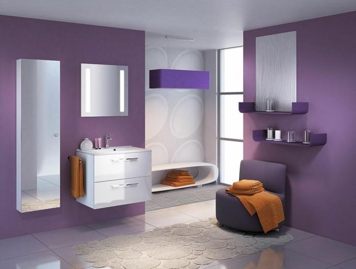 Die Farbe Lila badezimmer wände orange tücher