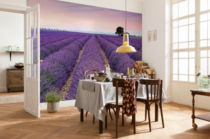 Die Farbe Lila esszimmer ausgefallene wandtapete lavendel