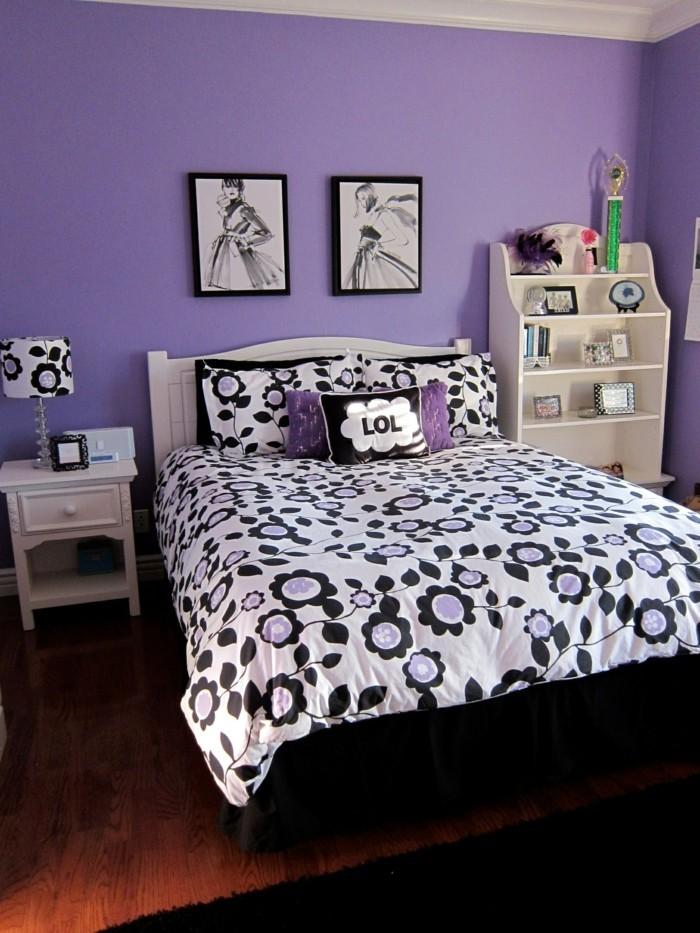 Die Farbe Lila schlafzimmer schwarz lila kombinieren