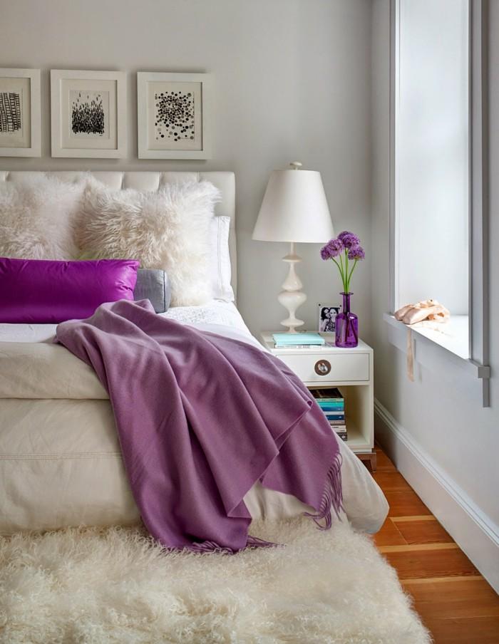 Die Farbe Lila lila akzente weißes schlafzimmer