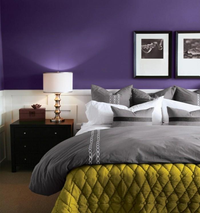 die farbe lila schickes schlafzimmer grüne akzente