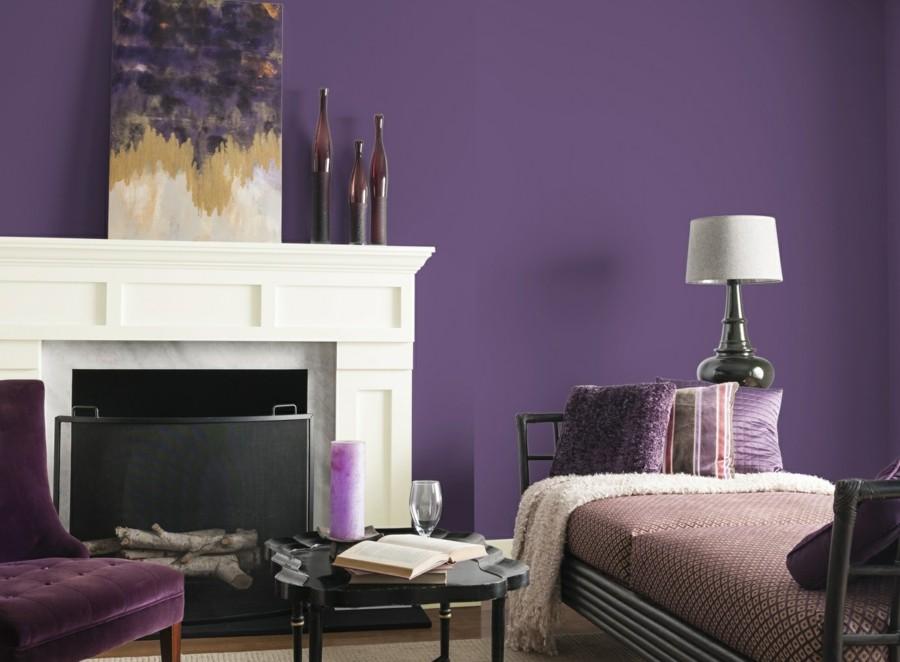 Die Farbe Lila wanddesign moderner wohnbereich schöne textilien