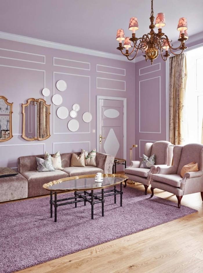 Die Farbe Lila wohnzimmer lila einrichtung heller bodenbelag