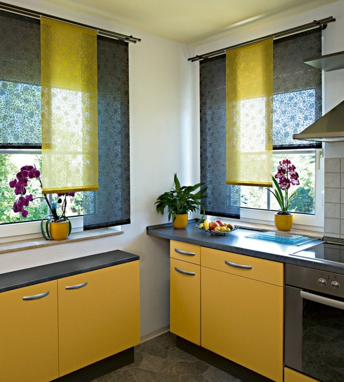 Flächenvorhänge küche fensterverdunkelung gelbe küchenschränke