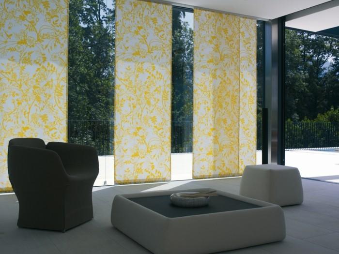 Flächenvorhänge moderner wohnbereich gelbes muster