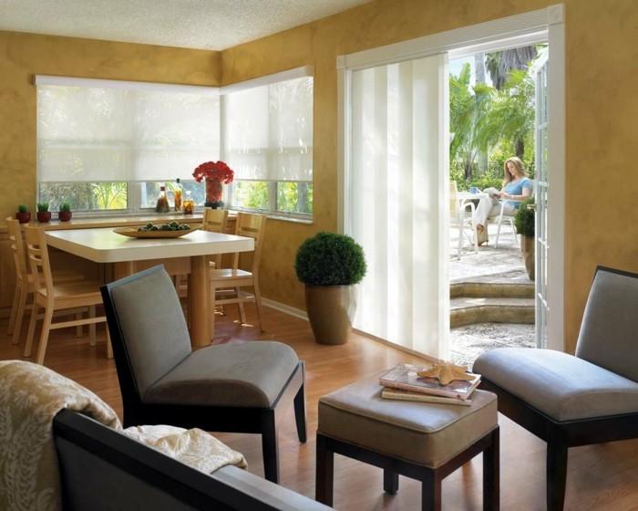Flächenvorhänge moderner wohnbereich sommer