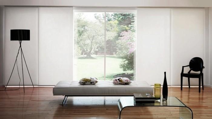 Flächenvorhänge modernes wohnzimmer minimalistische züge