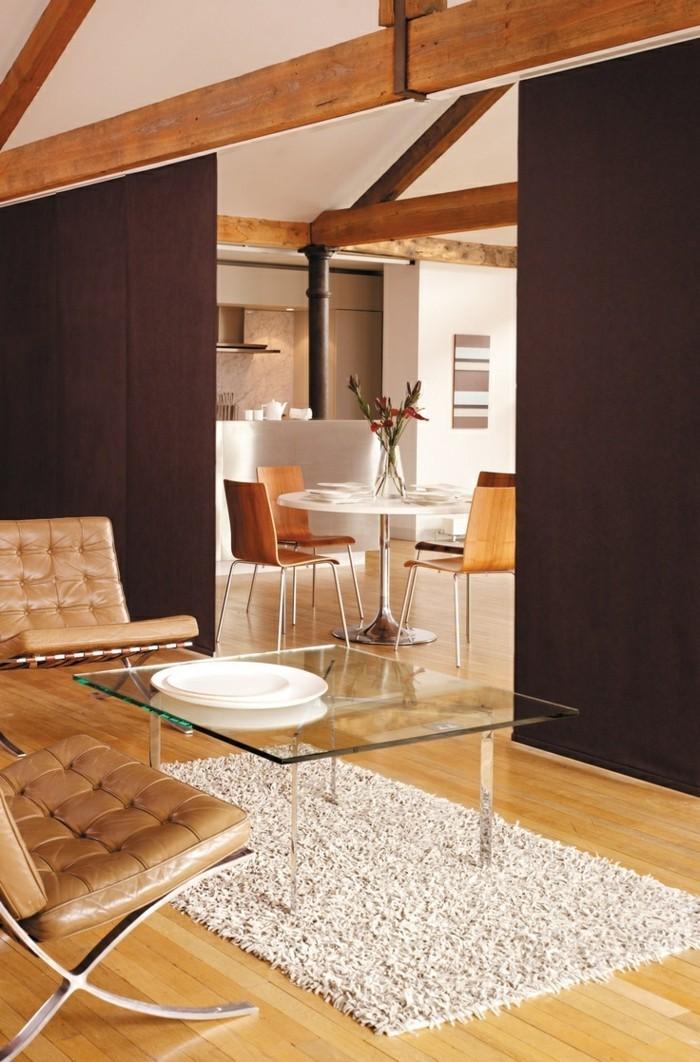 Flächenvorhänge raumteiler wohnbereich offener wohnplan