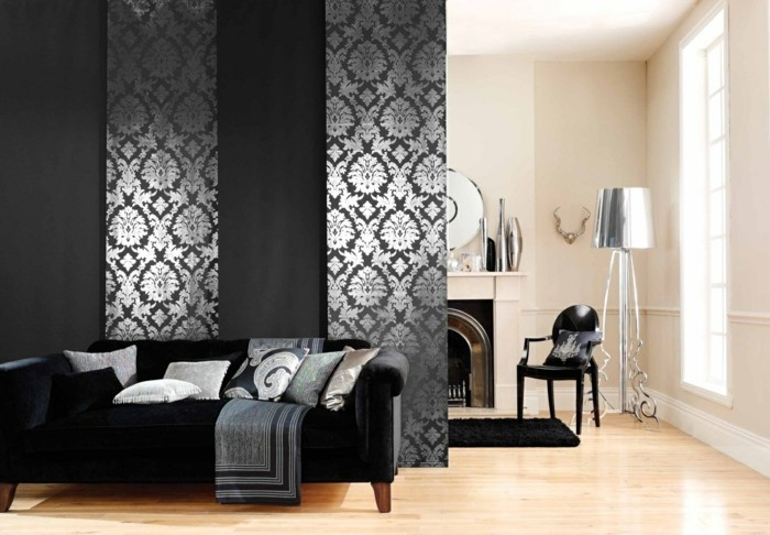 Flächenvorhänge raumteiler wohnzimmer bereiche absondern