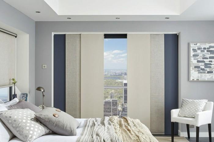 Flächenvorhänge schlafzimmer fenster verdunkeln dekorieren