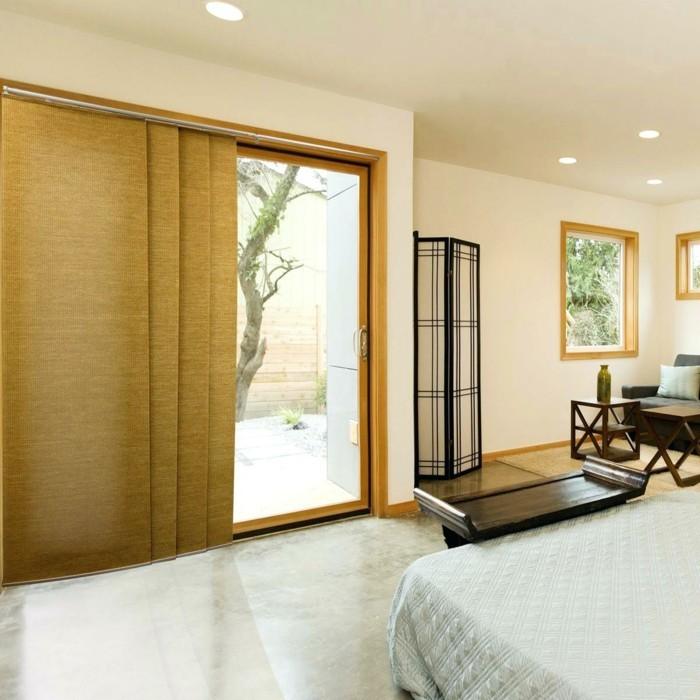 Flächenvorhänge schlafzimmer heller bodenbelag neutrale farben